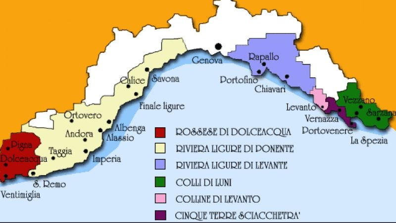 Liguria Di Levante Cartina.Tipologie Di Vini Liguri